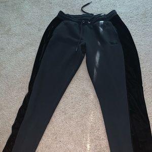 PINK Black Velvet Trim Sweatpants
